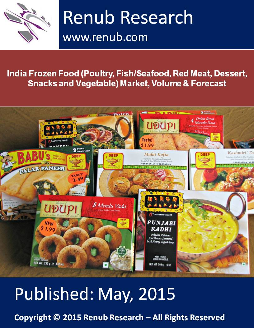 India Frozen Food (Poultry, Fish/Seafood, Red Meat, Dessert, Snacks and Vegetable) Market, Volume & Forecast
