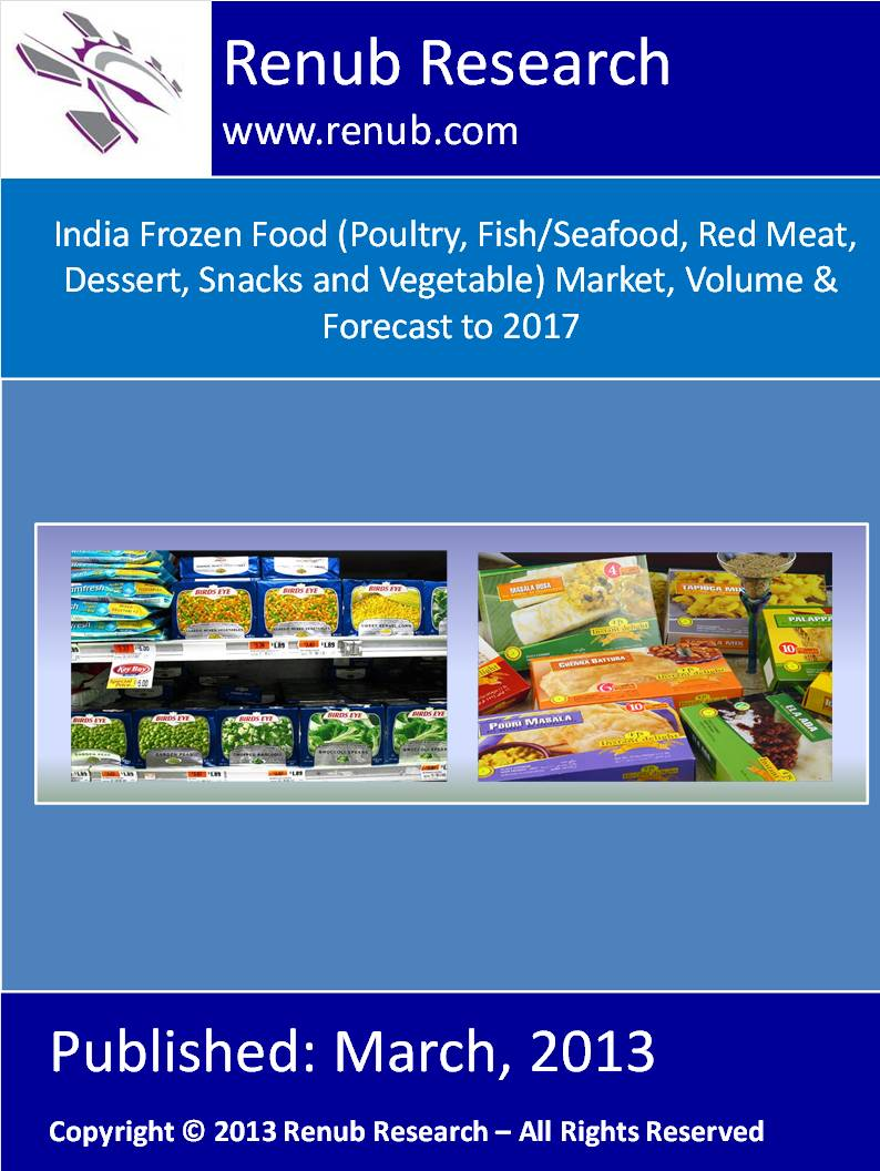 India Frozen Food Market, (Poultry, Fish/Seafood, Red Meat, Dessert, Snacks and Vegetable) Volume & Forecast to 2017