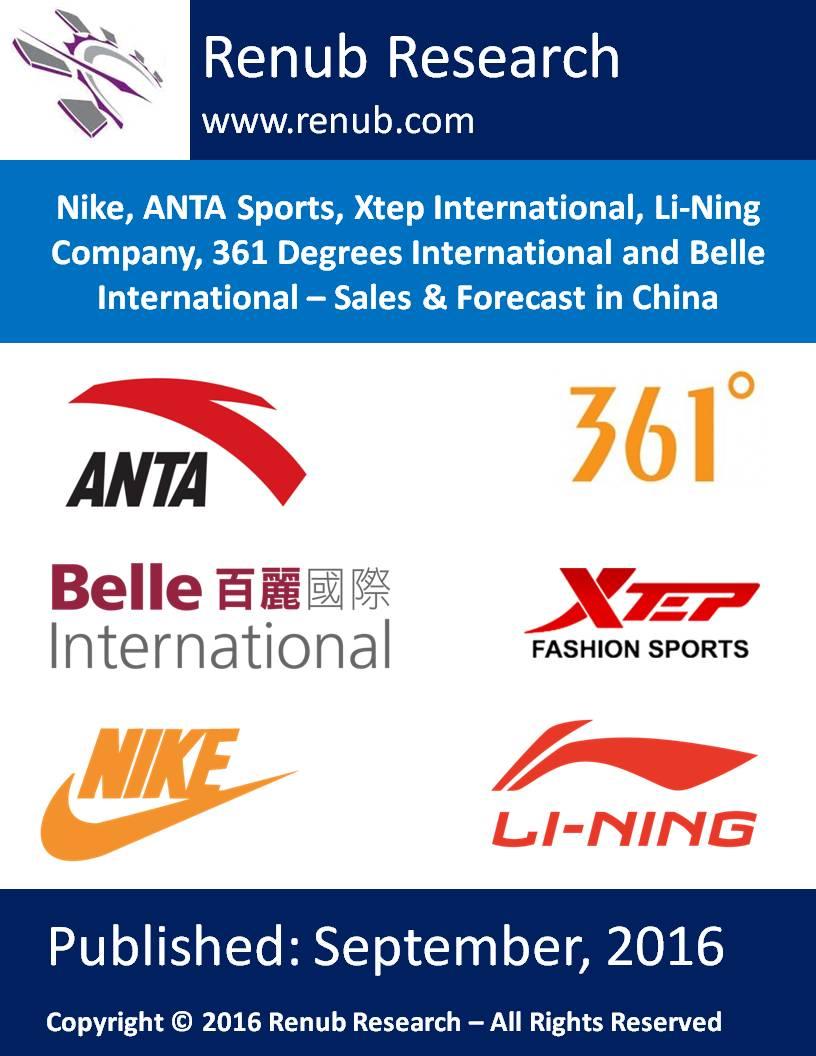 Nike, ANTA Sports, Xtep International, Li-Ning Company, 361 Degrees International and Belle International - Sales & Forecast in China