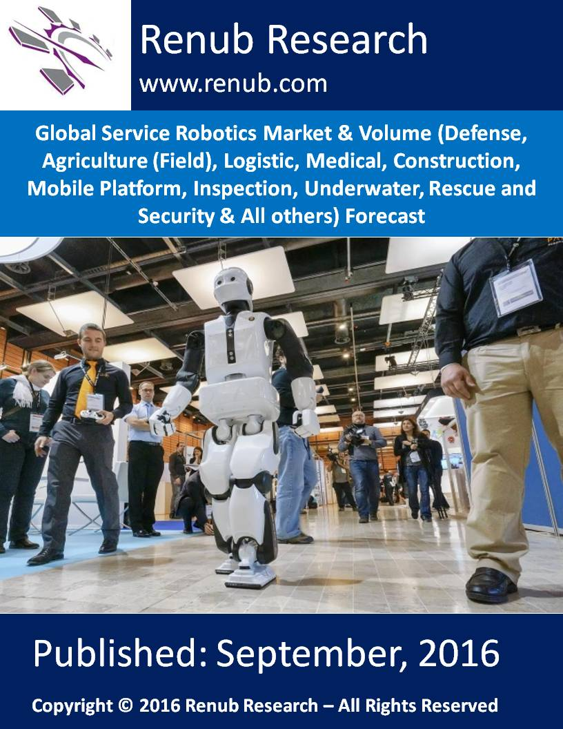 Global Service Robotics Market & Volume (Defense, Agriculture (Field), Logistic, Medical, Construction, Mobile Platform, Inspection, Underwater, Rescue and Security & All others) Forecast