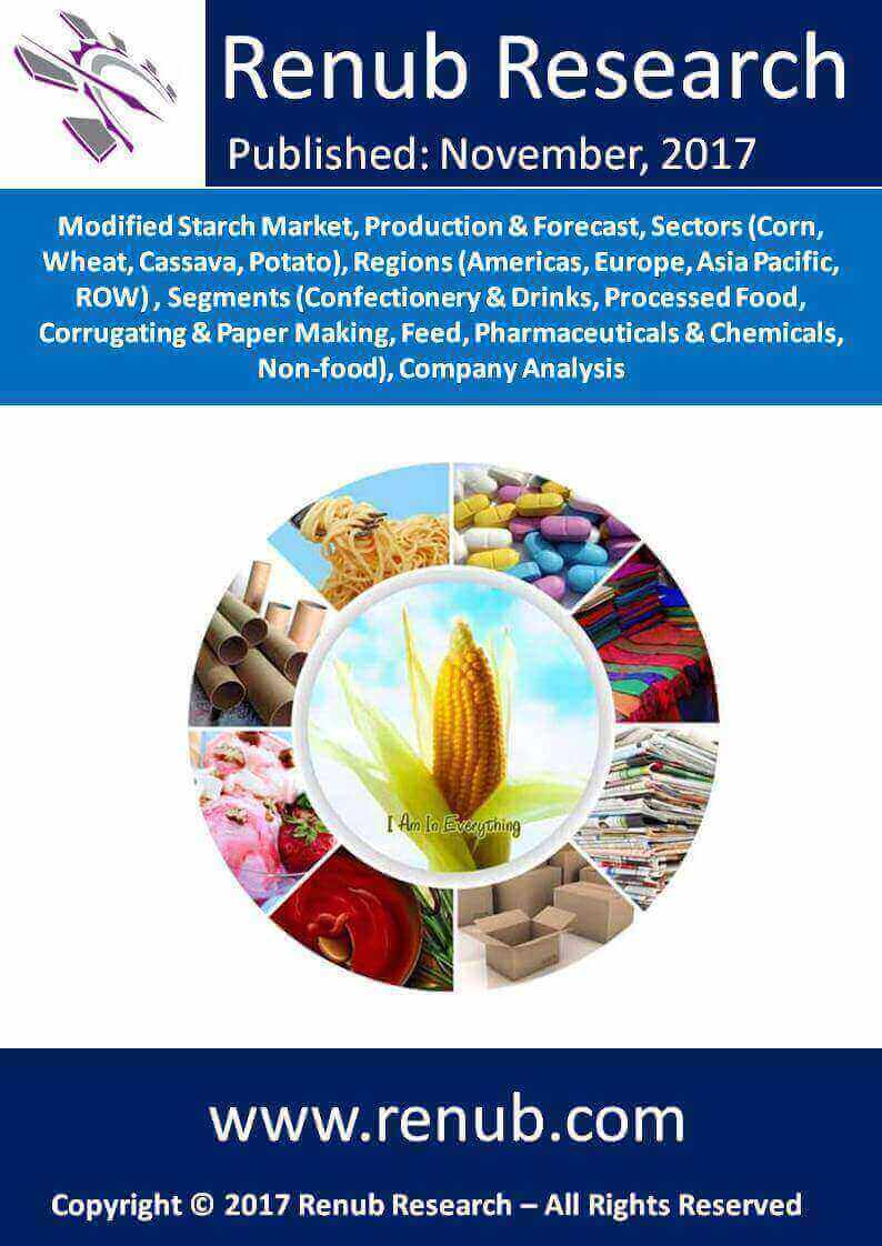 Modified Starch Market, Production & Forecast, Sectors (Corn, Wheat, Cassava, Potato), Regions (Americas, Europe, Asia Pacific, ROW), Segments (Confectionery & Drinks, Processed Food, Corrugating & Paper Making, Feed, Pharmaceuticals & Chemicals, Non-food), Company Analysis