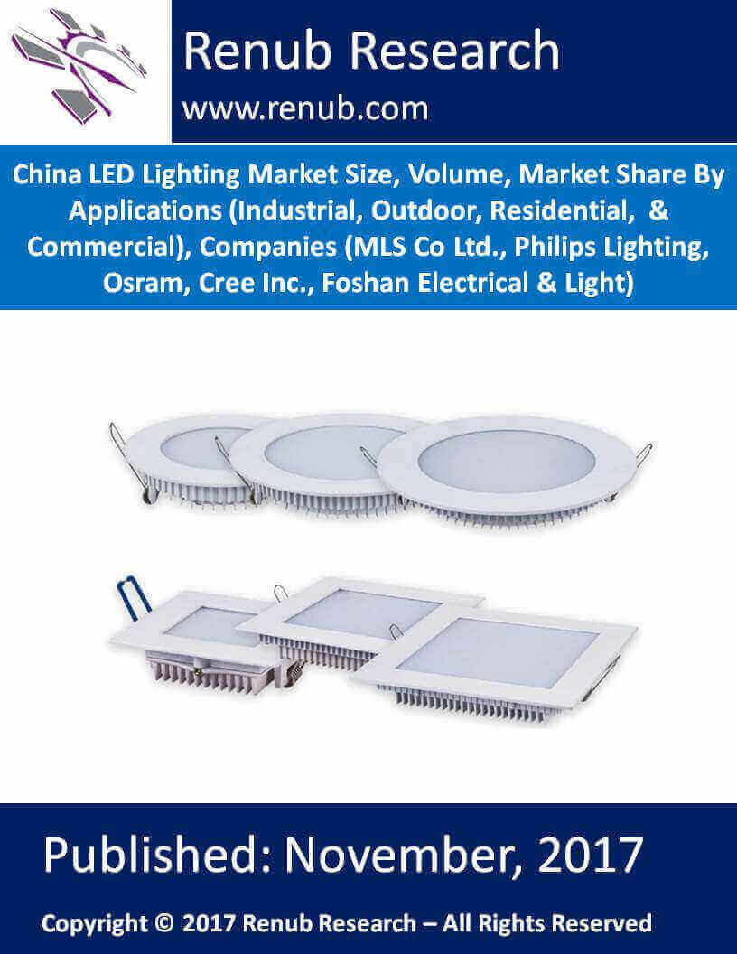 China LED Lighting Market Size, Volume, Market Share By Applications (Industrial, Outdoor, Residential, & Commercial), Companies (MLS Co Ltd., Philips Lighting, Osram, Cree Inc., Foshan Electrical & Light)