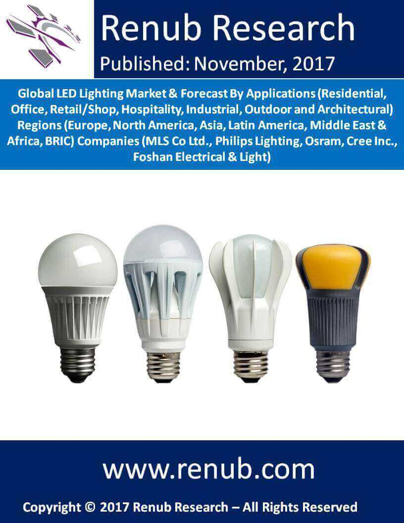 Global LED Lighting Market & Forecast By Applications (Residential, Office, Retail/Shop, Hospitality, Industrial, Outdoor and Architectural) Regions (Europe, North America, Asia, Latin America, Middle East & Africa, BRIC) Companies (MLS Co Ltd., Philips Lighting, Osram, Cree Inc., Foshan Electrical & Light)